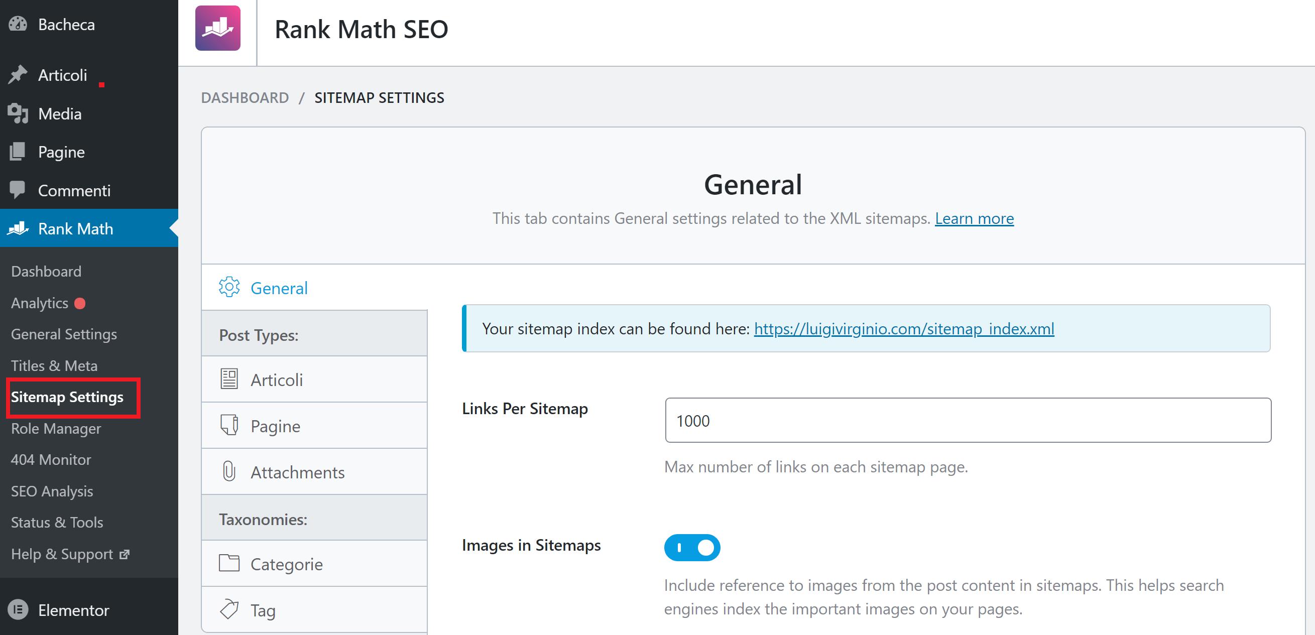 creare una sitemap con rank math su wordpress