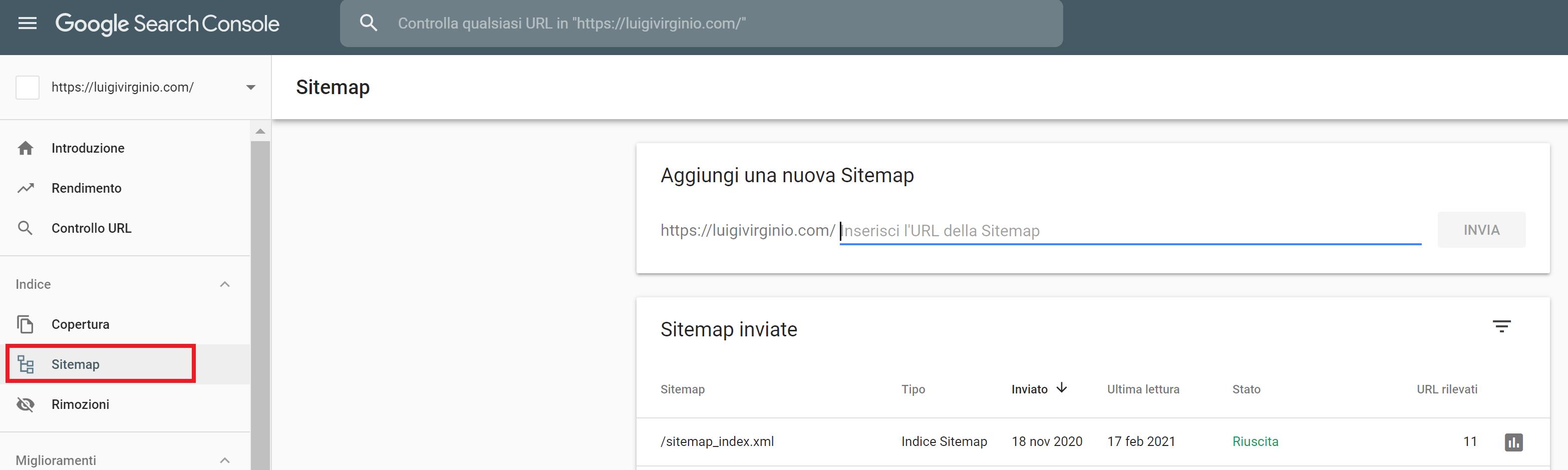 inviare una sitemap a Google