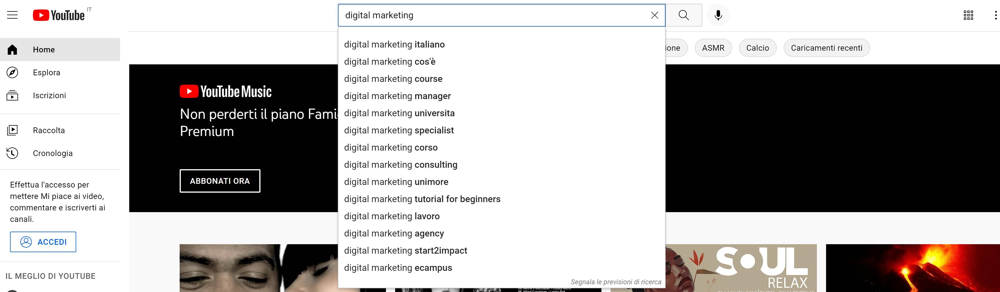 ricerca keyword youtube completamento automatico
